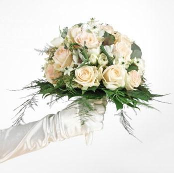 Bidermajer - Ornitogalum, ruže i zelenilo