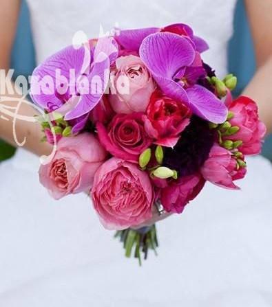 BDM 022.  Bidermajer - Phalaenopsis, bozuri, ruze, lale i frezije